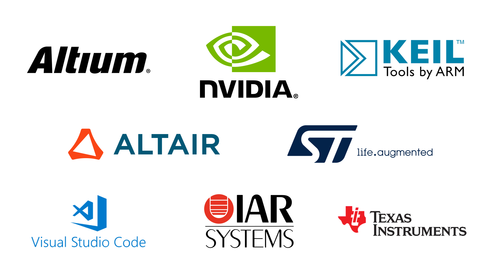 Intelligent Embedded Systems - Logos of various software companies